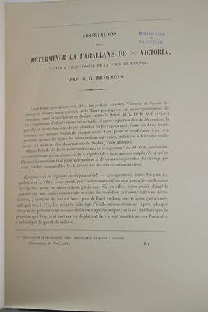 Observations pour Determiner la Parallaxe de 12 Victoria: Bigourdan, Guillaume