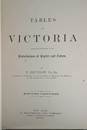 Tables of Victoria, Computed with Regard to the Perturbations of Jupiter and Saturn [Asaph Hall&#...