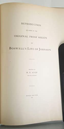 Reproduction of Some of the Original Proof Sheets of Boswell's Life of Johnson: Adam, R. B.