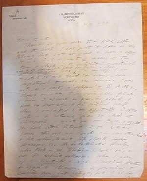 Manuscript Letter from D.S. MacColl to Frank: MacColl, D.S. [Frank