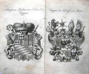 Aebtissin zu Buchau am Feder-See Wappen. Und: Wappen des Bischoffs von Brixen.