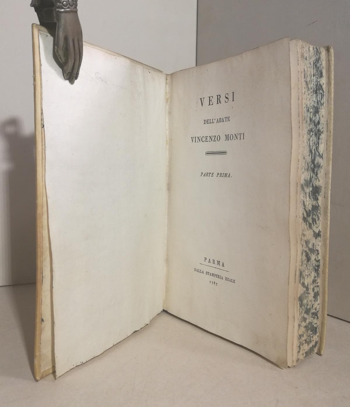 Versi dell'abate Vincenzo Monti. Parte Prima [e seconda] MONTI Vincenzo Fine Hardcover