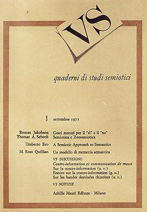 Versus. Quaderni di studi semiotici diretta da Umberto Eco: ECO Umberto (e altri)