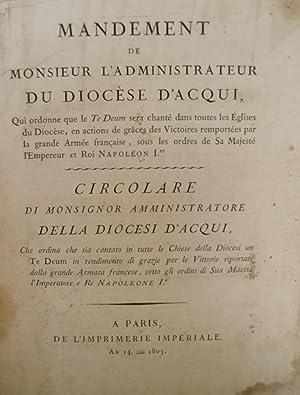 Circolare di Monsignor Amministratore della Diocesi d'Acqui che ordina che sia cantato un ...