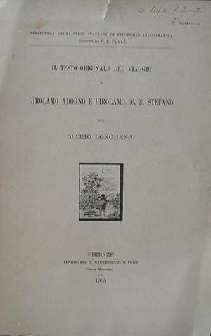 Il testo originale di Girolamo Adorno e Girolamo da Santo Stefano: LONGHENA Mario