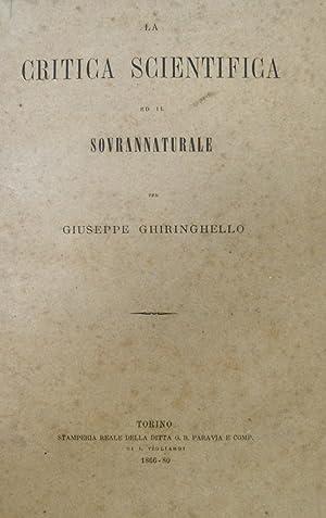 La critica scientifica ed il sovrannaturale: GHIRINGHELLO Giuseppe