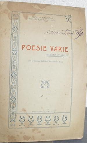 Poesie varie. Edizione postuma con prefazione dell'Avv. Francesco Bisio: MARENGO Angelo