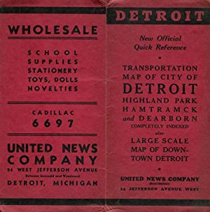 Transportation Map Of City Of Detroit, Highland Park; Hamtramck and Dearborn.