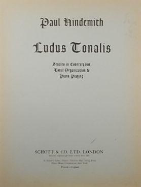 Ludus Tonalis, Studies in Counterpoint, Tonal Organization: HINDEMITH, Paul