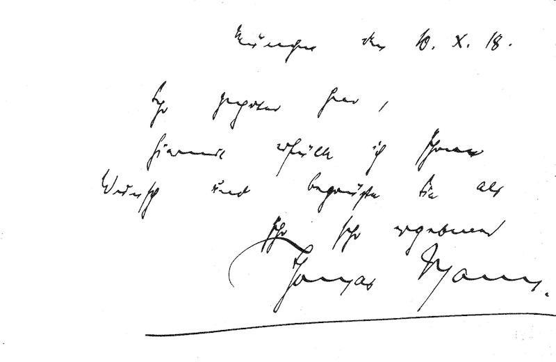 Schriftsteller (1875-1955; Nobelpreis 1929): Eigenh. Postkarte (ganz: Mann, Thomas: