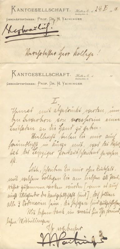 Vaihinger, Philosoph (1852-1933; Gründer der Kantgesellschaft 1904): Vaihinger, Hans: