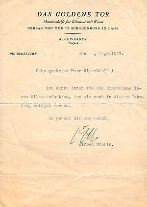 Schriftsteller (1878-1957): Masch. Brief mit eigenh. U.: Döblin, Alfred: