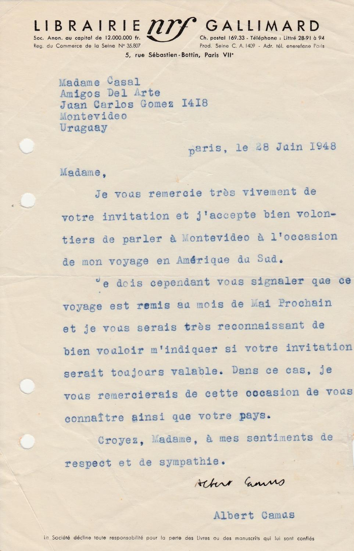 Vialibri Albert Camus Lettre Signée Sur Son Voyage En