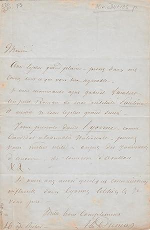 Lettre autographe sur son roman Pauline: ALEXANDRE DUMAS PERE