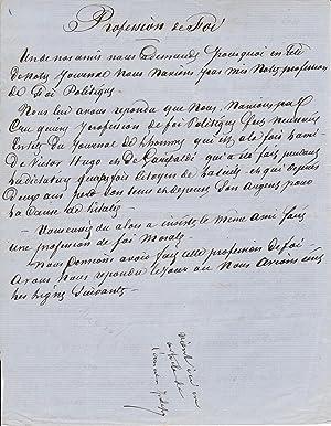 Manuscrit signé de DUMAS sur l'unification de: ALEXANDRE DUMAS