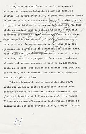 Tapuscrit signé avec corrections autographes: FRANCOISE SAGAN