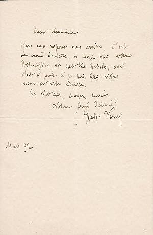 JULES VERNE Lettre autographe signée: Jules VERNE