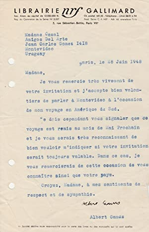 ALBERT CAMUS - Lettre signée sur son: ALBERT CAMUS