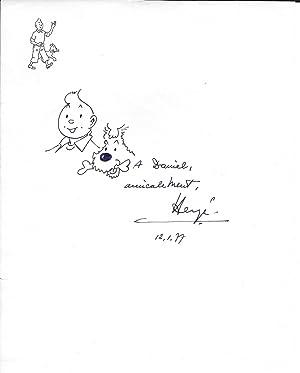 HERGE Dessin original signé sur papier en-tête: HERGE