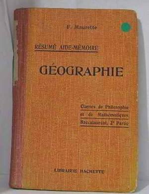 Géographie classes de philosophie et de mathématiques: Maurette F