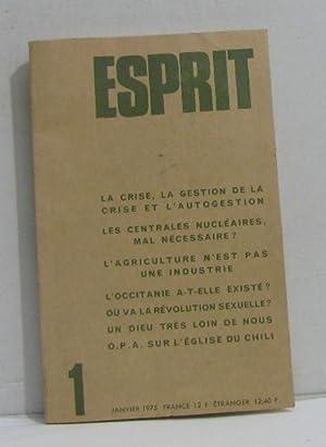 Esprit n°1 janvier 1975 la crise, la: Collectif