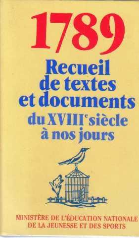 1789 Recueil de textes et documents du: De La Jeunesse