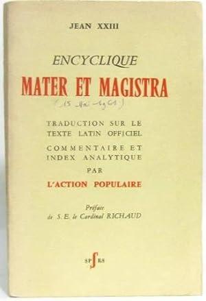 Encyclique Mater et Magistra. Traduction sur le: Jean XXIII