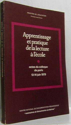 Apprentissage et pratique de la lecture à: Collectif