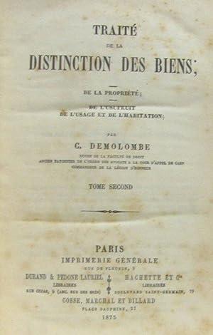 Traité de la distinction des biens; de: Demolombe