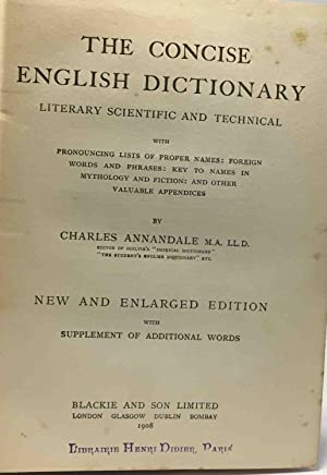 The concise english dictionary literary scientific and technical - new and enlarged edition with ...