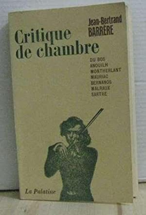 Critique de chambre: Barrère Jean-bertrand