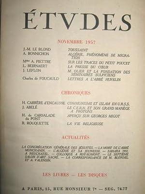 Etudes. Revue mensuelle fondée en 1856 par: Toussaint / LE