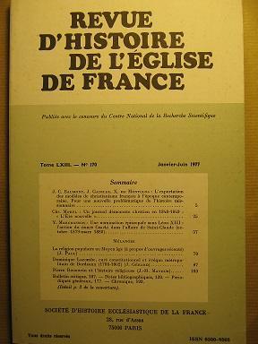 Revue d'Histoire de l'Eglise de France. (Tome: Missions / BAUMONT