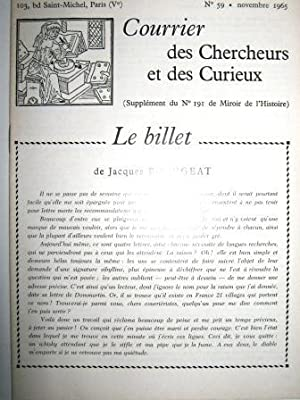 Courrier des Chercheurs et des Curieux. (Supplément: Théâtre / Paris
