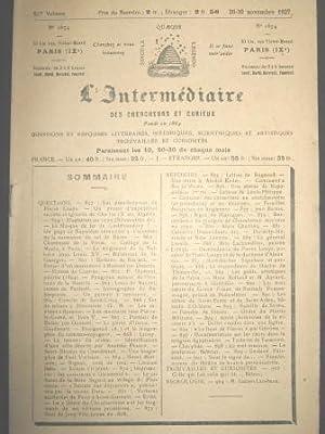 L'Intermédiaire des Chercheurs et Curieux. Fondé en: O'MEARA / BARTON