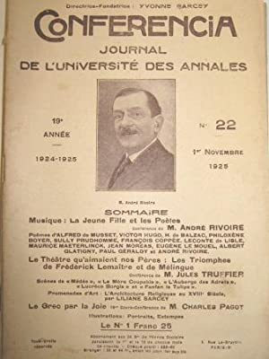 Conferencia. Journal de l'Université des Annales. (19e: Rivoire (André) /