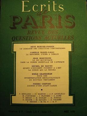 Ecrits de Paris. Revue des questions actuelles.: Entrepreneurs / BERGER-PERRIN