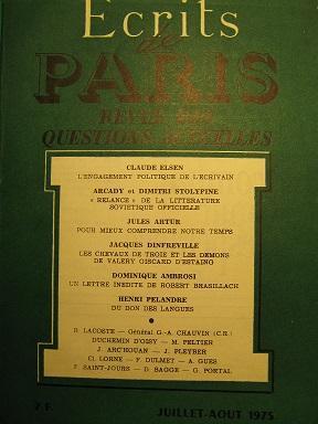 Ecrits de Paris. Revue des questions actuelles.: ELSEN (Claude) /