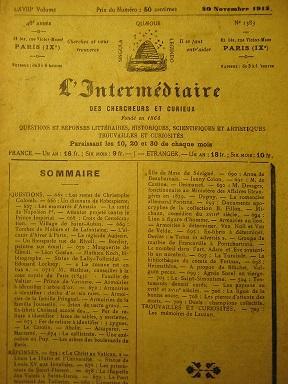 L'Intermédiaire des Chercheurs et Curieux. Fondé en: Le Christ au