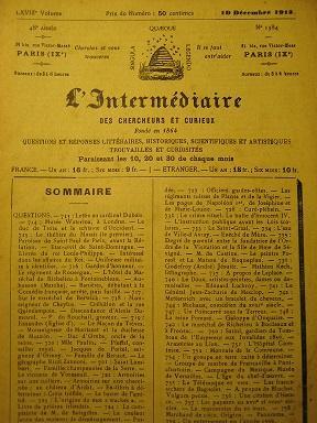 L'Intermédiaire des Chercheurs et Curieux. Fondé en: Bibliothèque d'Alexandrie /