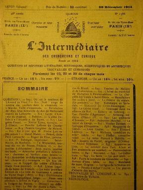 L'Intermédiaire des Chercheurs et Curieux. Fondé en: LOUIS-PHILIPPE / Livrée