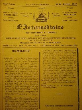L'Intermédiaire des Chercheurs et Curieux. Fondé en: Europe / Cartographie
