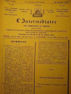 L'Intermédiaire des Chercheurs et Curieux. Fondé en: Citadelle de l'Ancan