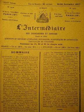 L'Intermédiaire des Chercheurs et Curieux. Fondé en: Roi de France