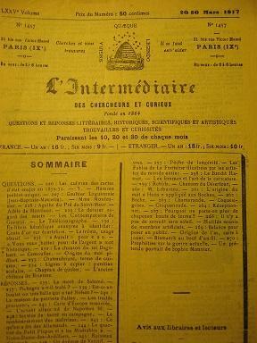 L'Intermédiaire des Chercheurs et Curieux. Fondé en: SALOME / PICHEGRU
