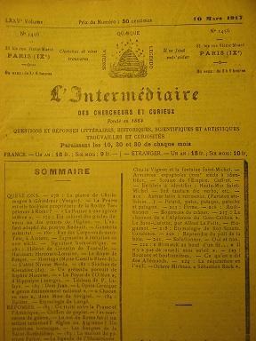 L'Intermédiaire des Chercheurs et Curieux. Fondé en: Traité / Prusse