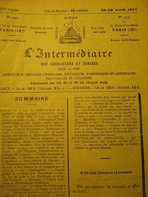 L'Intermédiaire des Chercheurs et Curieux. Fondé en: PICHEGRU / Entente