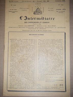 L'Intermédiaire des Chercheurs et Curieux. Fondé en: DEROULEDE (Paul) /