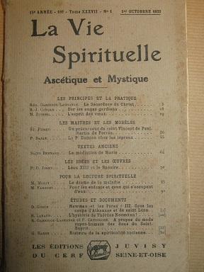 La Vie Spirituelle, Ascétique et Mystique. Revue: GARRIGOU-LAGRANGE (frère Réginald)
