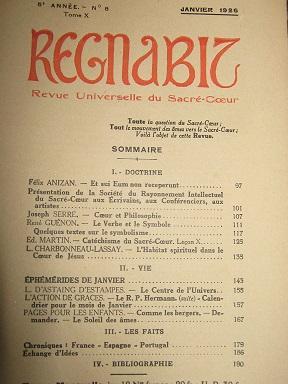 REGNABIT. Revue universelle du Sacré-Coeur paraissant le: ANIZAN (Félix) /